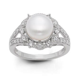 Gioelli Sterling Silver Freshwater Pearl and Created White Sapphire Ring (9.5 mm) (More options available)