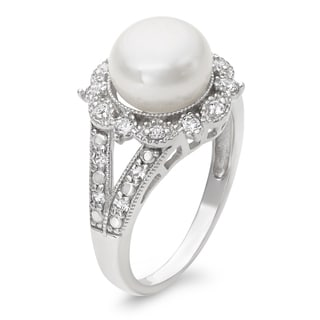 Link to Gioelli Sterling Silver Freshwater Pearl and Created White Sapphire Ring (9.5 mm) Similar Items in Rings
