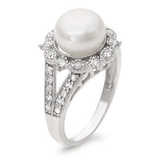 Gioelli Sterling Silver Freshwater Pearl and Created White Sapphire Ring (9.5 mm)