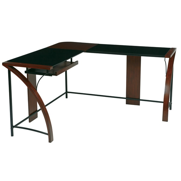 Home Office Glass Top Corner Desk Wiith L Shape Workstation   Free Shipping  Today   Overstock.com   16249986