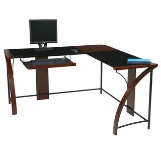 Home Office Glass-top Corner Desk wiith L-Shape Workstation