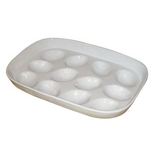 KitchenWorthy Glazed White Stoneware Egg Tray