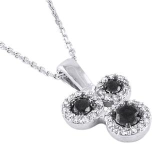 10k White Gold 1/3ct TDW Black and White 3-stone Diamond Necklace