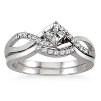 Marquee Jewels 10k White Gold 3/8ct TDW Princess-cut Diamond Bridal Set