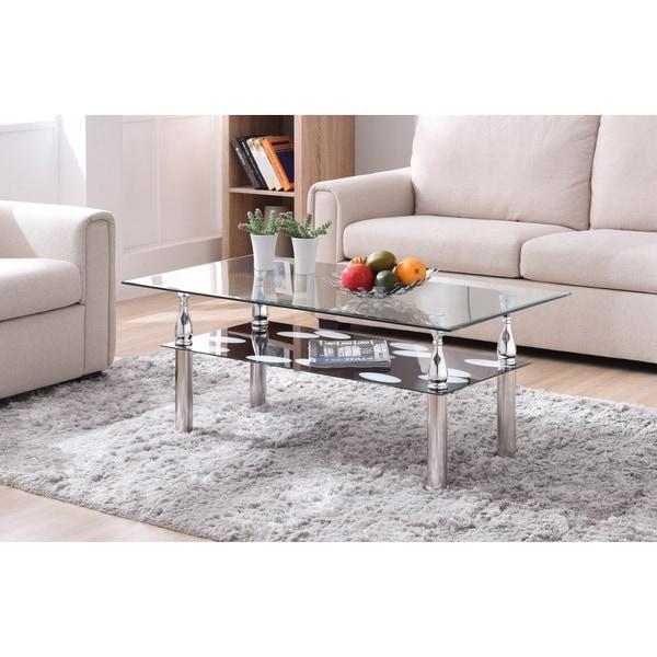 Modern 2 Tier Glass Top Coffee Table