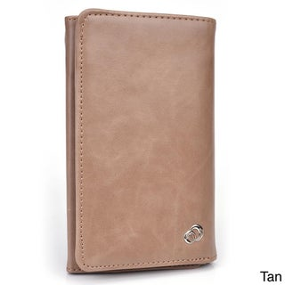 Kroo's Men's Leather BiFold Wallet and 5-inch Smartphone Case (Option: Tan)