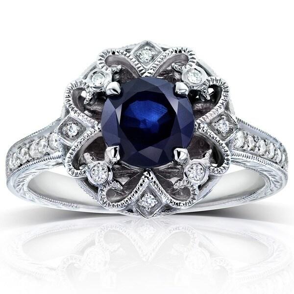 Annello by Kobelli 14k White Gold Blue Sapphire and 1/5ct TDW Diamond Edwardian Antique Ring (G-H, I1-I2)