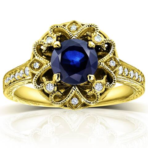Annello by Kobelli 14k Gold 6.5mm Round Blue Sapphire and 1/5ct TDW Diamond Edwardian Antique Ring