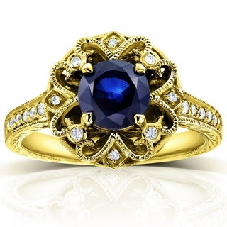 Annello 14k White Gold Round Blue Sapphire and 1/5ct TDW Diamond Edwardian Antique Style Ring (G-H, I1-I2)