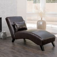 Charlotte Brown Bonded Leather Chaise Lounge by Christopher Knight Home