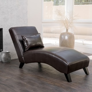 Charlotte Brown Bonded Leather Chaise Lounge by Christopher Knight Home : discount chaise lounge - Sectionals, Sofas & Couches