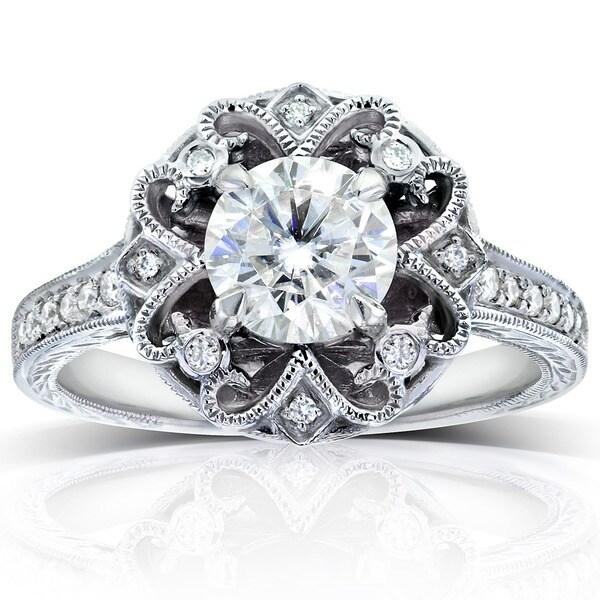 Annello by Kobelli 14k White Gold 1 1/5ct TDW Round-cut Diamond Edwardian Antique Engagement Ring