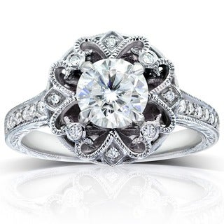 Annello by Kobelli 14k White Gold 1 1/5ct TDW Round-cut Diamond Edwardian Antique Engagement Ring
