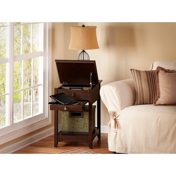 Bush Furniture Buena Vista Laptop End Table in Madison Cherry