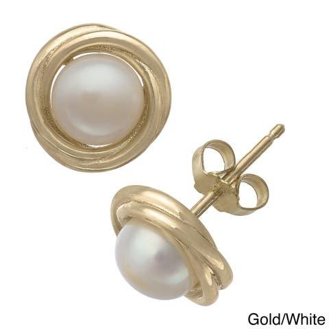 Gioelli Gold Over Sterling Silver Pearl Swirl Stud Earrings (6 mm)