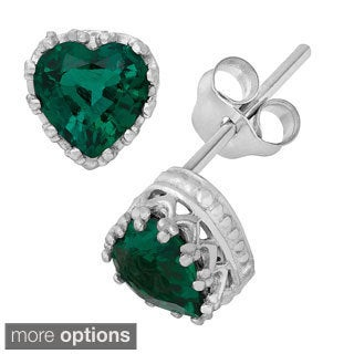 Gioelli Sterling Silver Heart-shaped Simulated Emerald Crown Stud Earrings