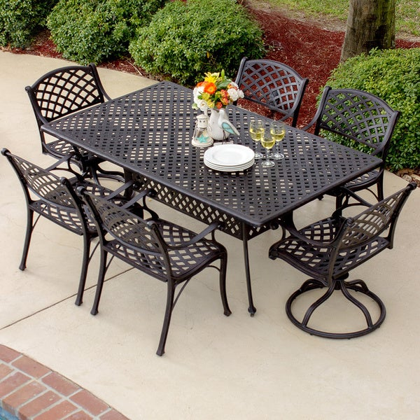 heritage 7 piece cast aluminum patio dining set free shipping today