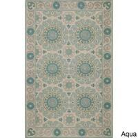 Momeni Suzani Hook Aqua Hand-Hooked Wool Rug (5' X 8') - 5' x 8'