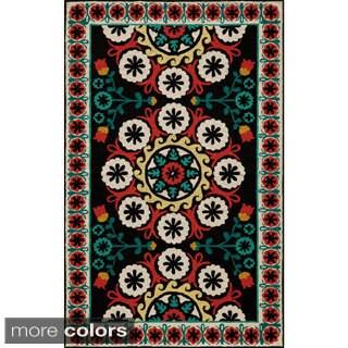Uzbek Soul Black Hand-Hooked Wool Indoor Rugs (5' x 8')