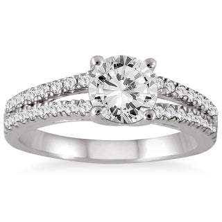 Marquee Jewels 14k White Gold 1 1/3ct TDW Double Row Diamond Engagement Ring (I-J, I2-I3)