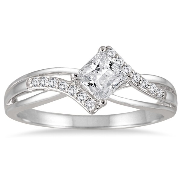 Marquee Jewels 10k White Gold 1/2ct TDW Princess-cut Diamond Ring