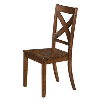 Lawson Rustic Brown X-back Wood Dining Chair (Set of 2)