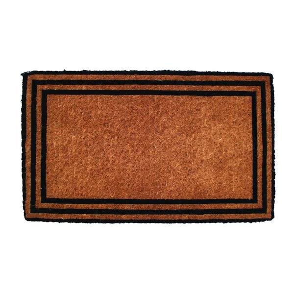 Handmade Natural/ Black Border Door Mat (1'6 x 2'6)