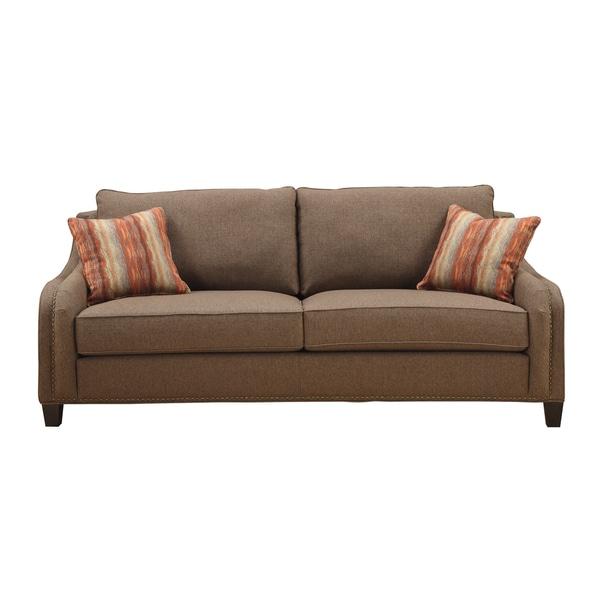 Charmant Emerald Cocoa Brown Chenille Feel Tweed Sofa