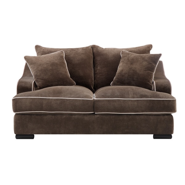 Emerald Caresse Mocha Down Filled Loveseat Free Shipping
