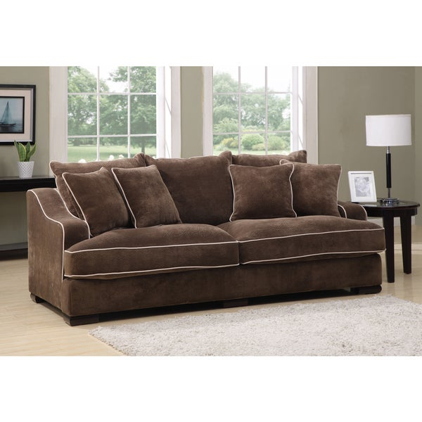 Emerald Caresse Mocha Down Filled Sofa Free Shipping