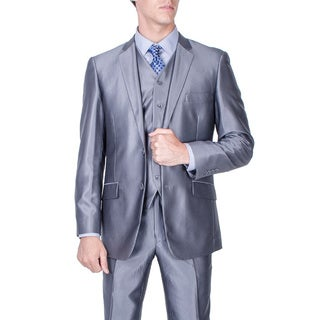 Men's Slim Fit Shiny Grey 2-button Vested Suit