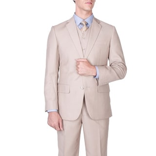 Men's Modern Fit Tan 2-button Vested Suit