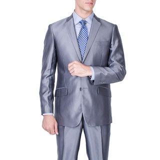 Men's Slim Fit Shiny Grey 2-button Suit