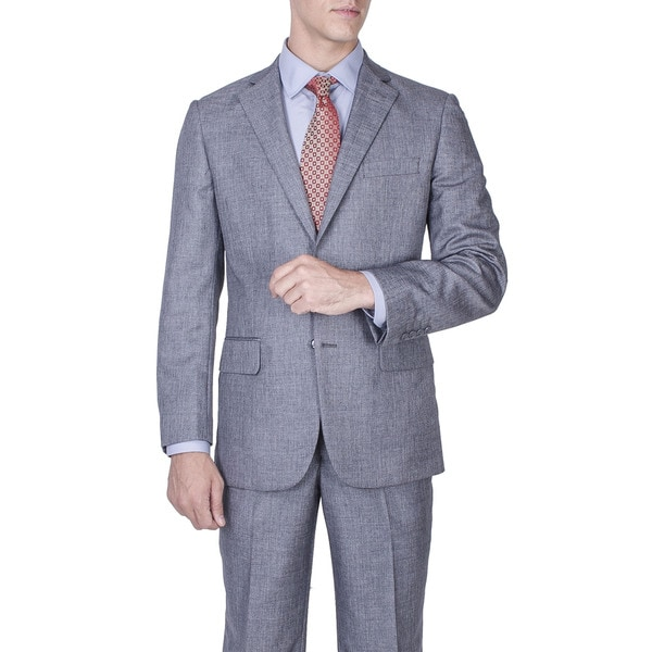 Mens Modern Fit Grey Salt and Pepper 2-button Suit