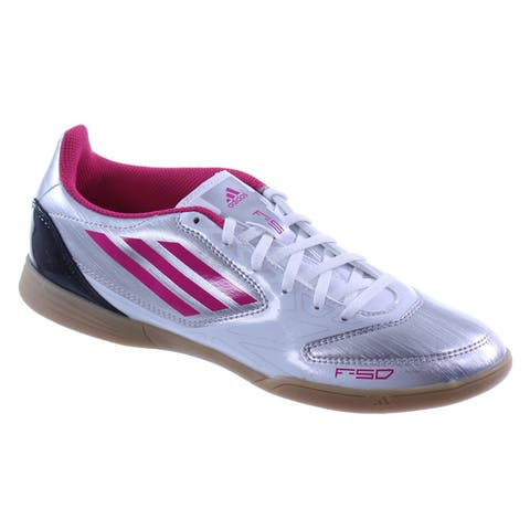 Adidas Womens F5 Silver/Pink Indoor Soccer Lifestyle Shoes