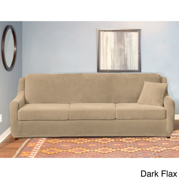 shop sure fit stretch pearson 3 cushion sleeper sofa slipcover free shipping today overstock. Black Bedroom Furniture Sets. Home Design Ideas