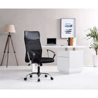 Black Mesh Adjustable-height Swivel Rolling Office Chair