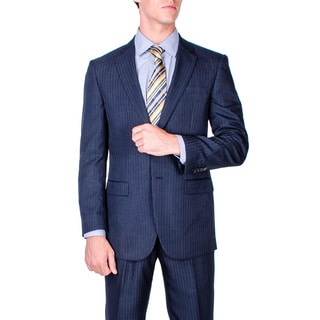 Men's Navy Blue Stripe 2-button Modern-fit Suit