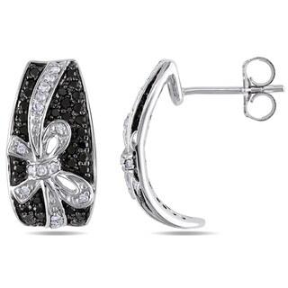 Miadora 10k White Gold 1/2ct TDW Black and White Diamond Bow Earrings