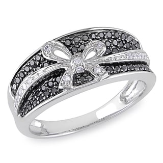 Miadora 10k White Gold 1/3ct TDW Black and White Diamond Bow Ring