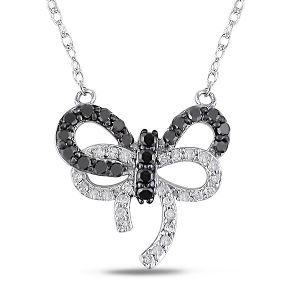 Miadora 10k White Gold 1/3ct TDW Black and White Diamond Bow Necklace
