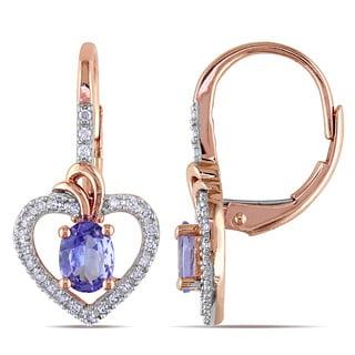 Miadora 10k Rose Gold Tanzanite and 1/6ct TDW Diamond Heart Earrings (G-H, I1-I2)