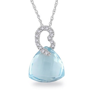 Miadora 10k White Gold 8 1/2ct TGW Sky Blue Topaz and Diamond Accent Necklace