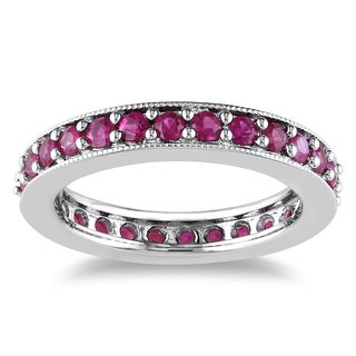 Miadora 14k White Gold 1 1/4ct TGW Pink Sapphire Eternity Ring