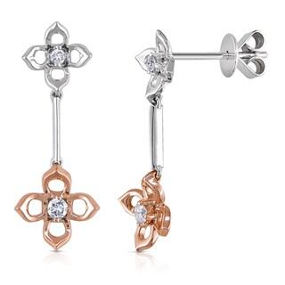 Miadora 14k Two-tone Gold 1/10ct TDW Diamond Flower Earrings