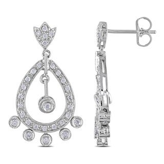 Miadora 14k White Gold 1/2ct TDW Diamond Dangle Earrings