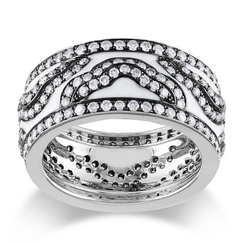 Miadora 14k White Gold 2ct TDW Black and White Enamel Diamond Ring