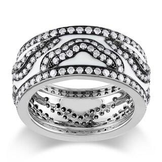 Miadora Signature Collection 14k White Gold 2ct TDW Black and White Enamel Diamond Ring