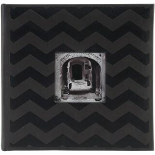 "Pioneer Embossed 2-Up Photo Album 4""X6"" 200 Pockets-Black Chevron"