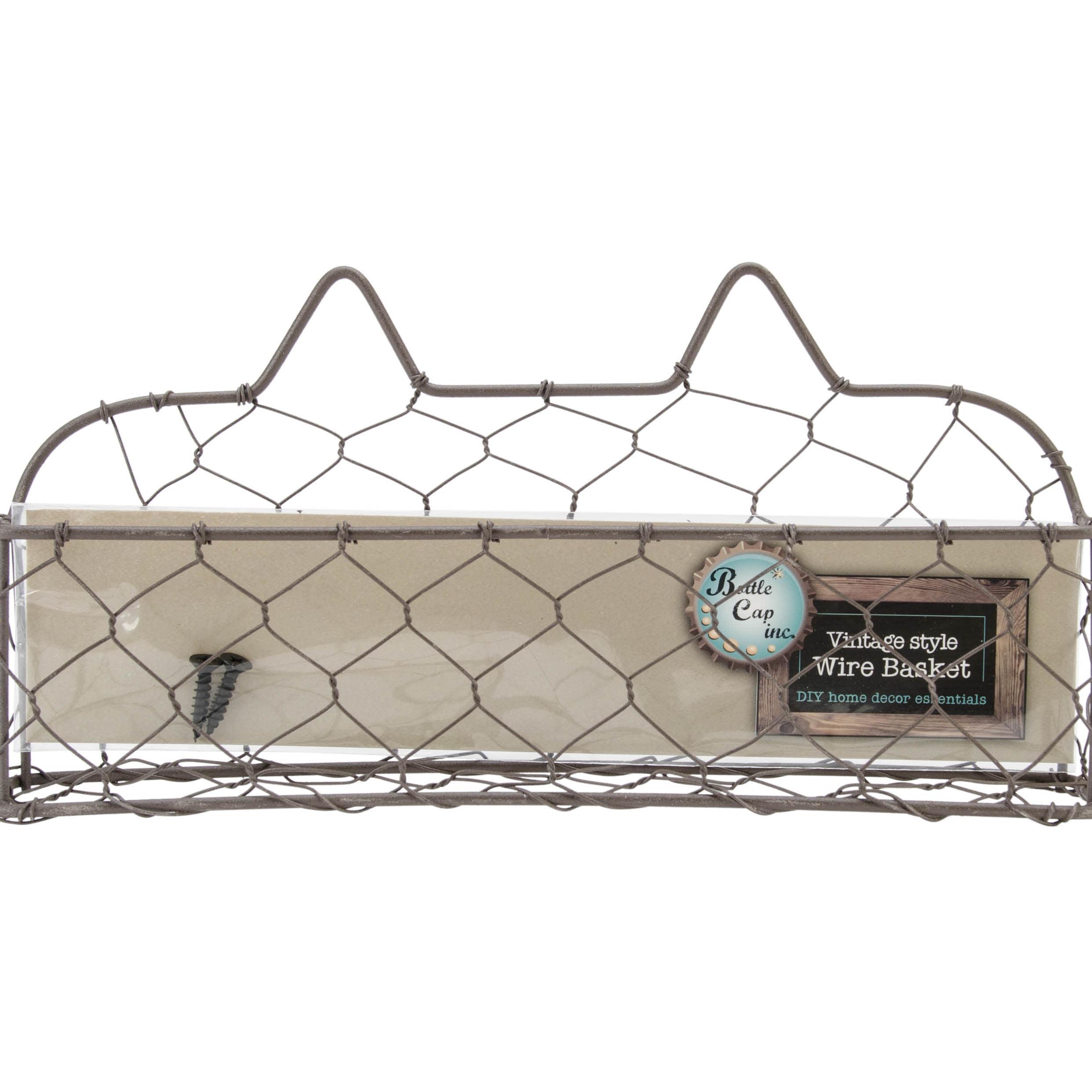 Bottle Cap Wide Wire Basket W/Screws (9in)